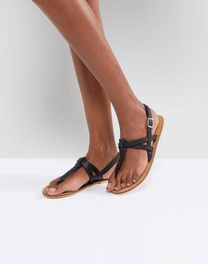 Кожаные сандалии на плоской подошве ASOS FEELS DESIGN. Цвет: черный