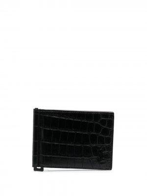 Картхолдер с тиснением под крокодила Saint Laurent. Цвет: черный