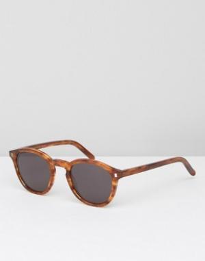Солнцезащитные очки в круглой оправе янтарного цвета Monokel-Коричневый Monokel Eyewear
