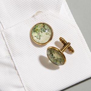 Мужские запонки с узором SHEIN. Цвет: бронзовый
