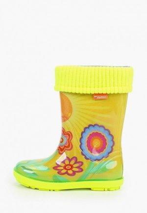 Резиновые сапоги Demar. Цвет: желтый
