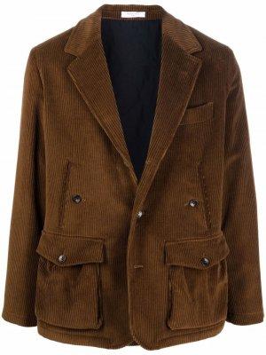Вельветовый пиджак на пуговицах Boglioli. Цвет: коричневый