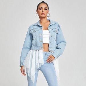Контрастная сетка Контрастный цвет Повседневный Джинсовые куртки и пальто SHEIN. Цвет: легко-синий