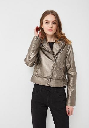 Куртка кожаная B.Style. Цвет: золотой