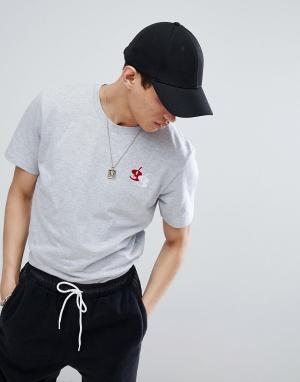 Обтягивающая футболка с вышивкой Gio Goi. Цвет: серый