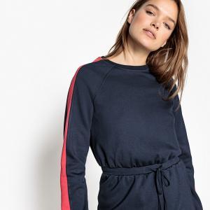 Платье прямое в спортивном стиле с завязками на поясе LA REDOUTE COLLECTIONS. Цвет: темно-синий