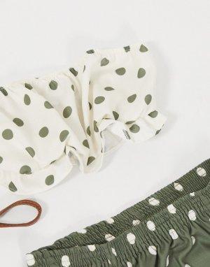Пляжный кроп-топ цвета хаки от комплекта в горошек -Мульти ASOS DESIGN
