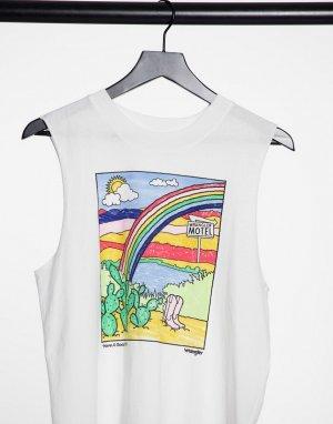 Белая oversize-майка с изображением радуги -Белый Wrangler