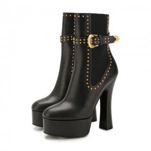 Кожаные ботильоны Versace. Цвет: чёрный