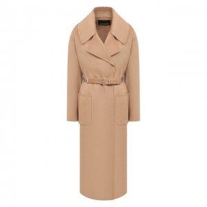 Шерстяное пальто Ermanno Scervino. Цвет: бежевый