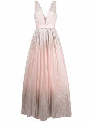 Расклешенное платье с V-образным вырезом Jenny Packham. Цвет: розовый
