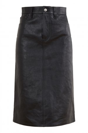 Юбка из черной кожи Balenciaga. Цвет: черный