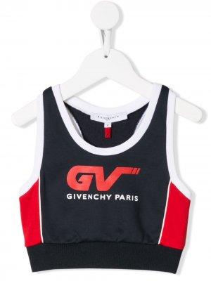 Укороченная майка с принтом логотипа Givenchy Kids. Цвет: синий