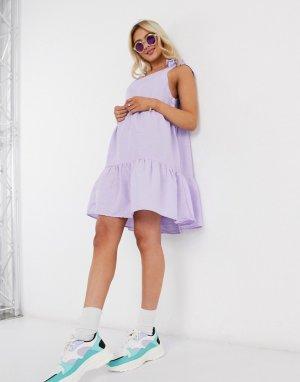 Лавандовое платье А-силуэта с завязками на плечах -Фиолетовый Monki