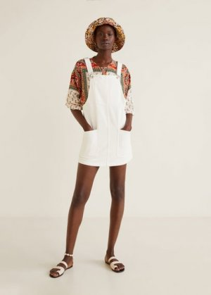Джинсовый сарафан с карманами - Pichi Mango. Цвет: белый