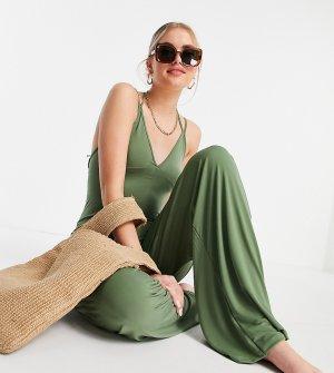Облегающий пляжный комбинезон цвета хаки с широкими штанинами ASOS DESIGN Tall-Зеленый цвет Tall