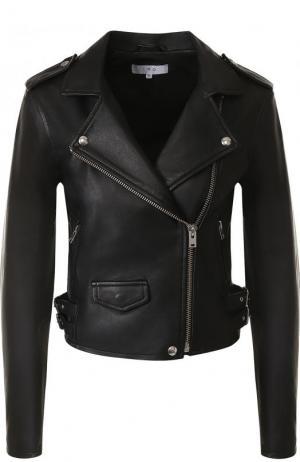 Укороченная кожаная куртка с косой молнией Iro. Цвет: черный