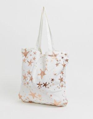 Большая пляжная сумка-тоут из хлопка с золотисто-розовыми морскими звездами print-Мульти ASOS DESIGN
