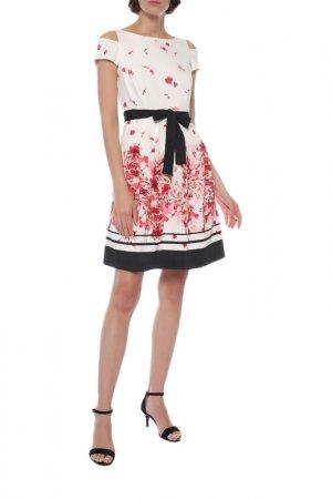 Платье Comma. Цвет: белый, красные цветы