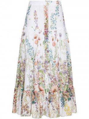 Длинная юбка Ann с цветочным принтом Charo Ruiz Ibiza. Цвет: белый