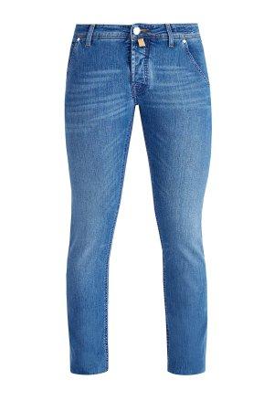 Джинсы с цветной прострочкой швов и карманами в американском стиле JACOB COHEN. Цвет: синий