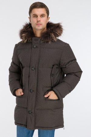 Длинный мужской зимний пуховик из Италии AFG. Цвет: коричневый