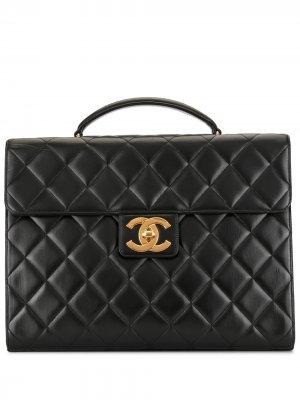Стеганый портфель 1997-го года Chanel Pre-Owned. Цвет: черный