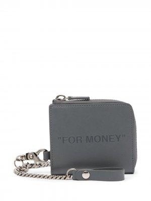 Кошелек For Money с цепочкой Off-White. Цвет: серый