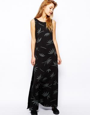 Платье макси c бамбуковым принтом 55DSL. Цвет: черный