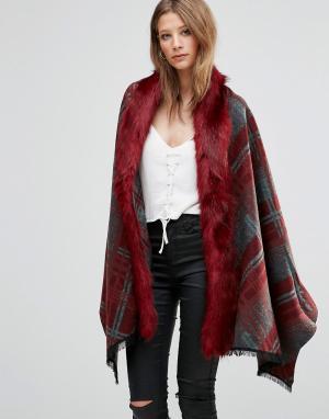 Красное свободное пальто в клетку с отделкой искусственным мехом Jayle Jayley. Цвет: красный