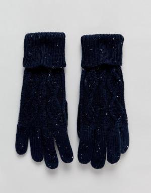 Вязаные перчатки с узором косичка Tom Boardmans. Цвет: синий