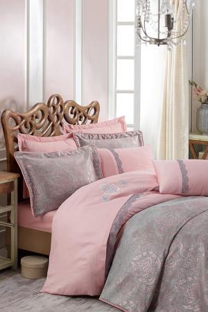 Двуспальный комплект белья Cotton box. Цвет: grey, pink