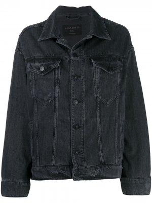 Джинсовая куртка с эффектом потертости AllSaints. Цвет: черный
