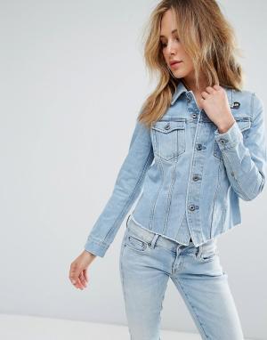 Джинсовая куртка с рваной отделкой 3301 G-Star. Цвет: серый