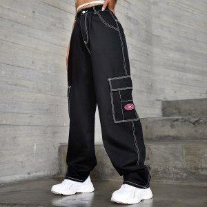 Широкие джинсы с карманом SHEIN. Цвет: чёрный