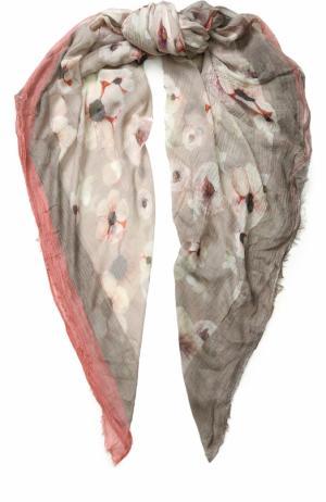 Платок из смеси вискозы и шелка с принтом 813 Ottotredici Annalisa Giuntini. Цвет: бежевый