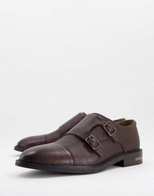 Светло-коричневые монки из фактурной кожи Walk London Oliver-Коричневый цвет