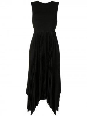 Плиссированное платье миди без рукавов JOSEPH. Цвет: черный