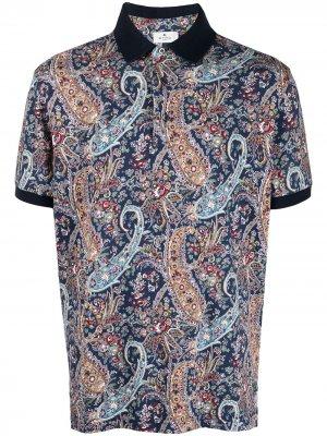 Рубашка поло с принтом пейсли Etro. Цвет: синий