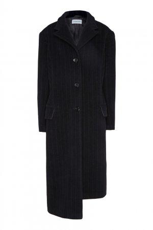 Черное пальто прямого кроя Alexandr Rogov. Цвет: черный