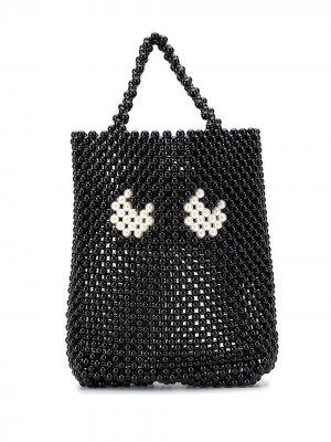 Маленькая сумка-тоут Eyes Anya Hindmarch. Цвет: черный
