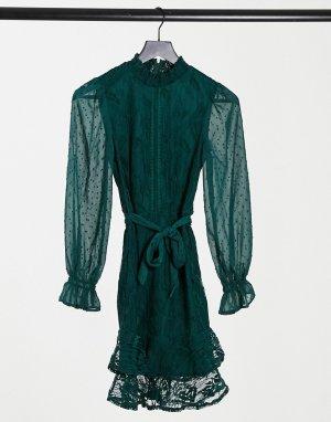Изумрудно-зеленое кружевное платье мини с высоким воротом, поясом и длинными рукавами -Зеленый Little Mistress