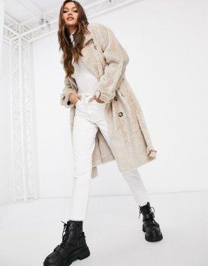 Кремовое двубортное пальто из искусственного меха с поясом -Кремовый Jayley
