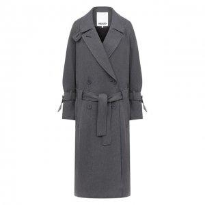 Пальто из вискозы и шерсти Kenzo. Цвет: серый