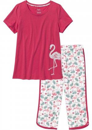 Пижама с брюками капри bonprix. Цвет: красный