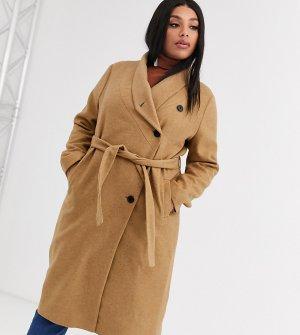 Шерстяное пальто с запахом и поясом -Светло-коричневый Religion Plus