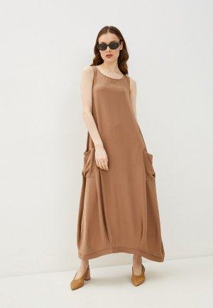 Платье Lautus. Цвет: бежевый