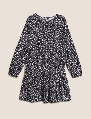 Многослойное платье из джерси с цветочным принтом Marks & Spencer. Цвет: морской микс