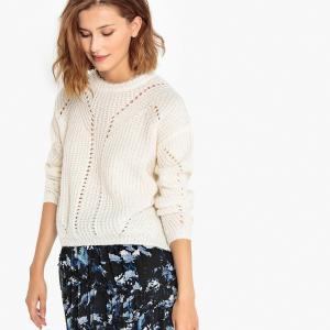 Пуловер из плотного трикотажа, с золотистой нитью, PATROCIE SUNCOO. Цвет: экрю