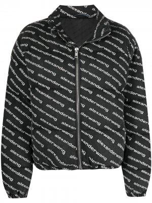 Куртка на молнии с логотипом Alexander Wang. Цвет: серый
